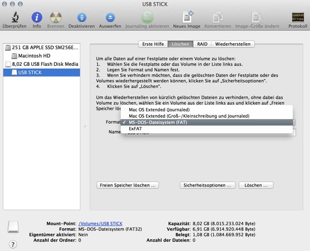 mac osx usb stick formatieren